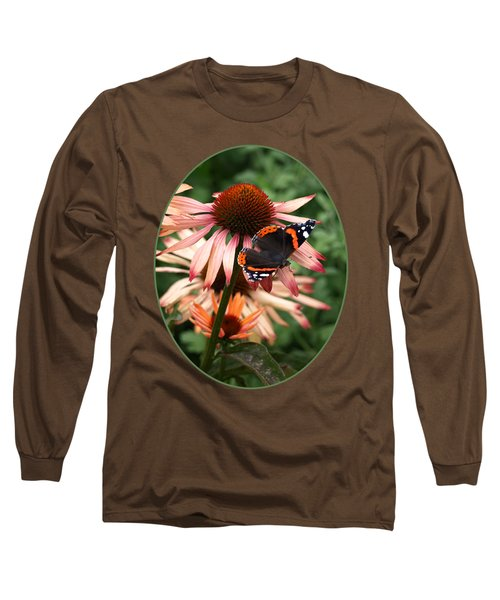 Red Admiral On Coneflower Long Sleeve T-Shirt by Gill Billington
