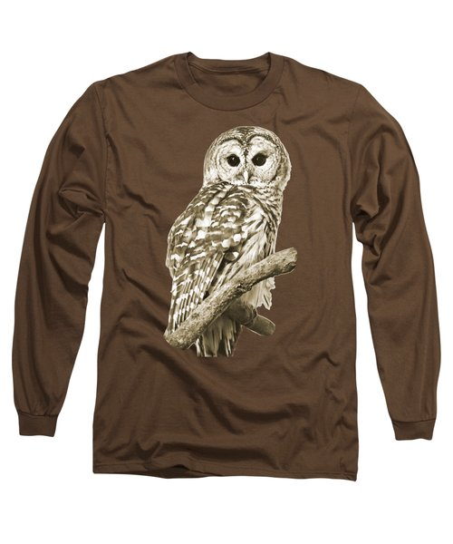 Sepia Owl Long Sleeve T-Shirt by Christina Rollo