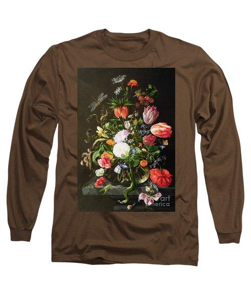 Still Life Of Flowers Long Sleeve T-Shirt by Jan Davidsz de Heem