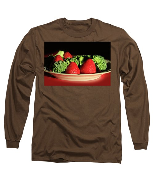Strawberries And Broccoli Long Sleeve T-Shirt by Lori Deiter