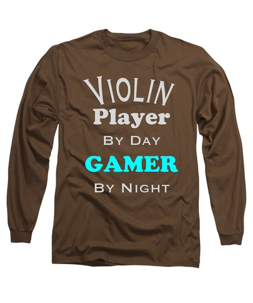 Violin Player By Day Gamer By Night 5633.02 Long Sleeve T-Shirt by M K  Miller