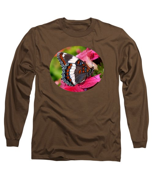 White Admiral Butterfly On Pink Flowers Long Sleeve T-Shirt by Christina Rollo