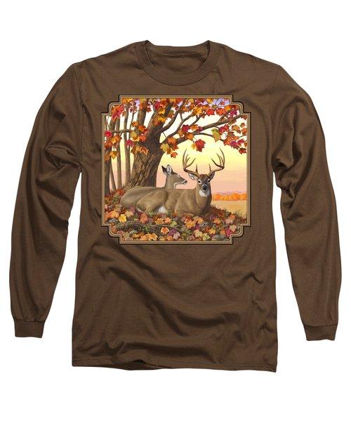 Whitetail Deer - Hilltop Retreat Long Sleeve T-Shirt by Crista Forest