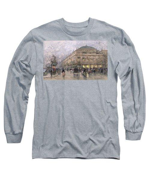 Parisian Street Scene Long Sleeve T-Shirt by Eugene Galien-Laloue