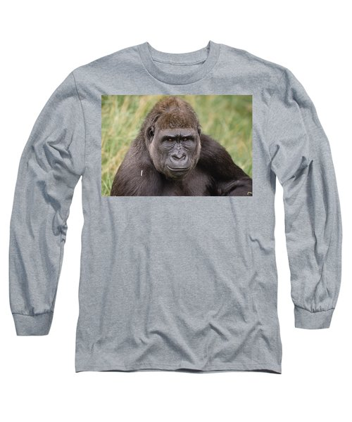 Western Lowland Gorilla Young Male Long Sleeve T-Shirt by Gerry Ellis