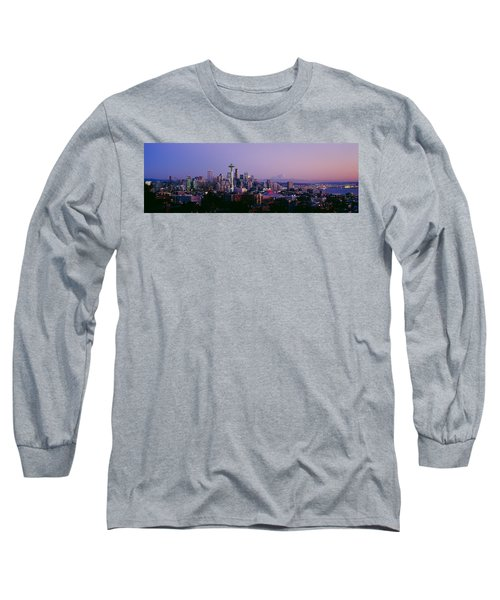 High Angle View Of A City At Sunrise Long Sleeve T-Shirt by Panoramic Images