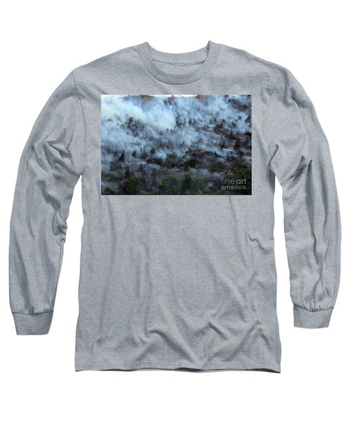Long Sleeve T-Shirt featuring the photograph A Smoky Slope On White Draw Fire by Bill Gabbert