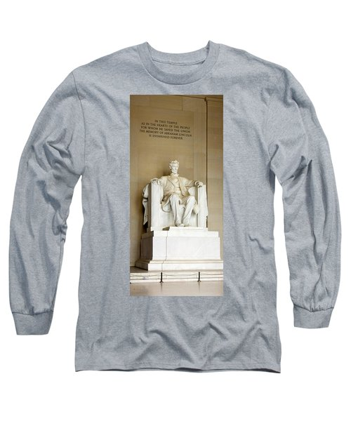 Abraham Lincolns Statue In A Memorial Long Sleeve T-Shirt by Panoramic Images