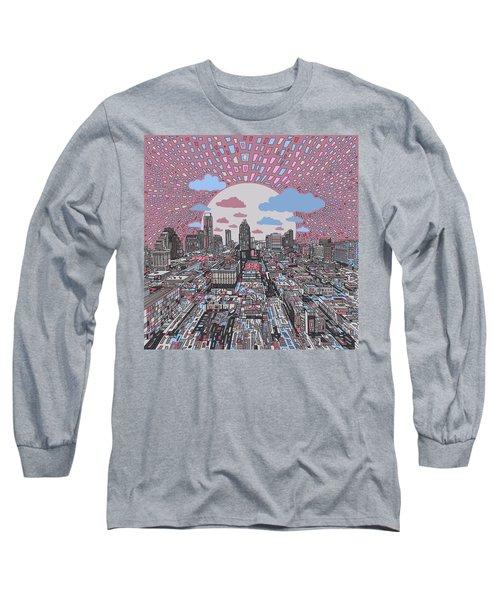 Austin Texas Abstract Panorama 3 Long Sleeve T-Shirt by Bekim Art