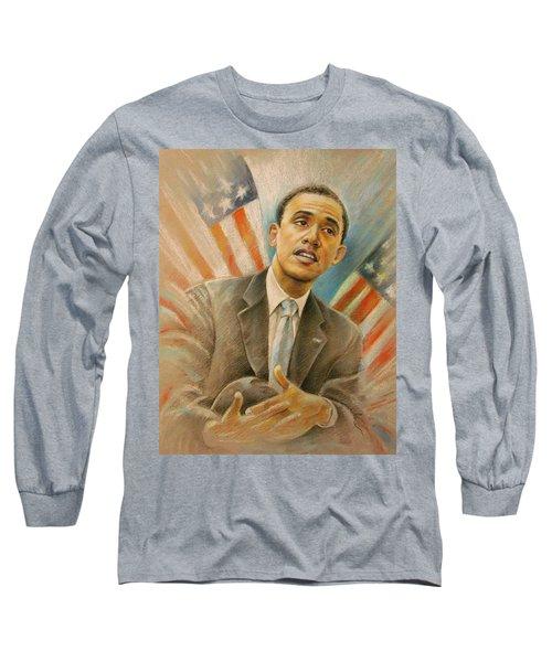 Barack Obama Taking It Easy Long Sleeve T-Shirt by Miki De Goodaboom