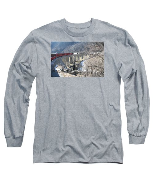 Long Sleeve T-Shirt featuring the photograph Bernina Express In Winter by Travel Pics