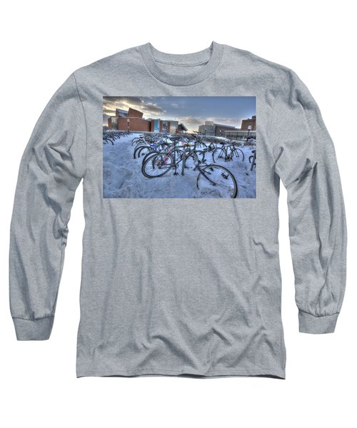 Bikes At University Of Minnesota  Long Sleeve T-Shirt by Amanda Stadther