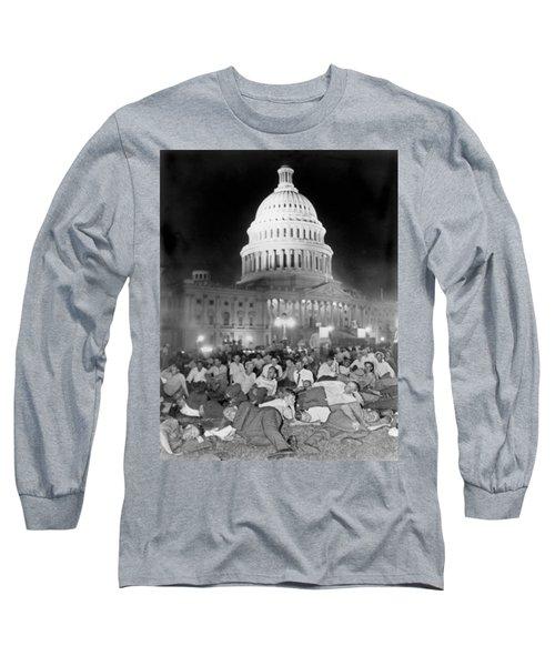 Bonus Army Sleeps At Capitol Long Sleeve T-Shirt by Underwood Archives