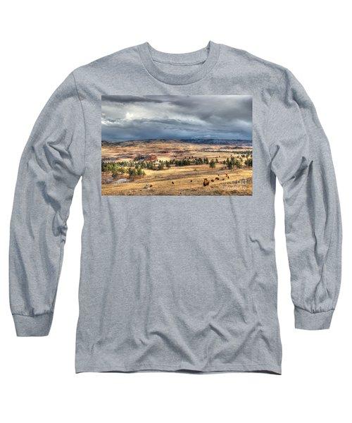 Long Sleeve T-Shirt featuring the photograph Buffalo Before The Storm by Bill Gabbert