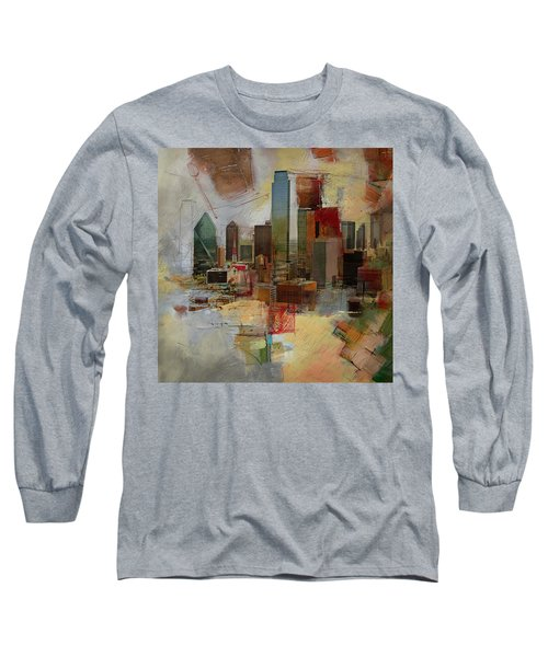 Dallas Skyline 003 Long Sleeve T-Shirt by Corporate Art Task Force