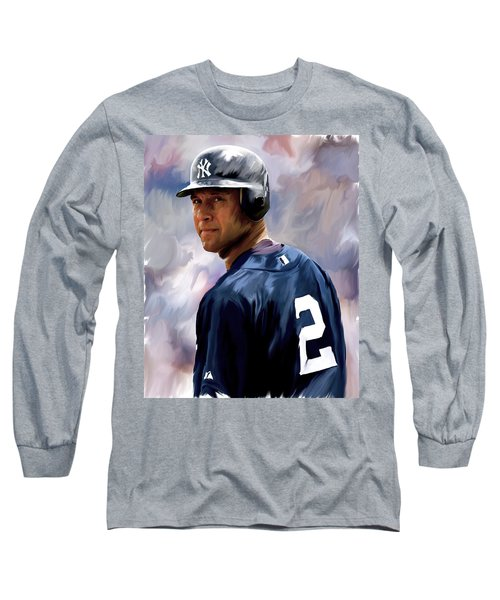 Derek Jeter  Long Sleeve T-Shirt by Iconic Images Art Gallery David Pucciarelli