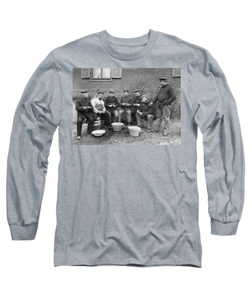 Germans Peeling Potatoes Long Sleeve T-Shirt by Underwood Archives