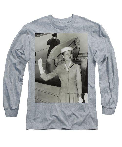 Grace Kelly In 1956 Long Sleeve T-Shirt by Mountain Dreams