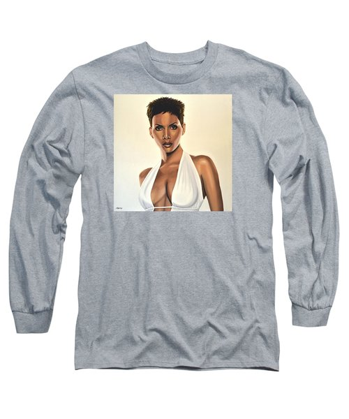 Halle Berry Painting Long Sleeve T-Shirt by Paul Meijering