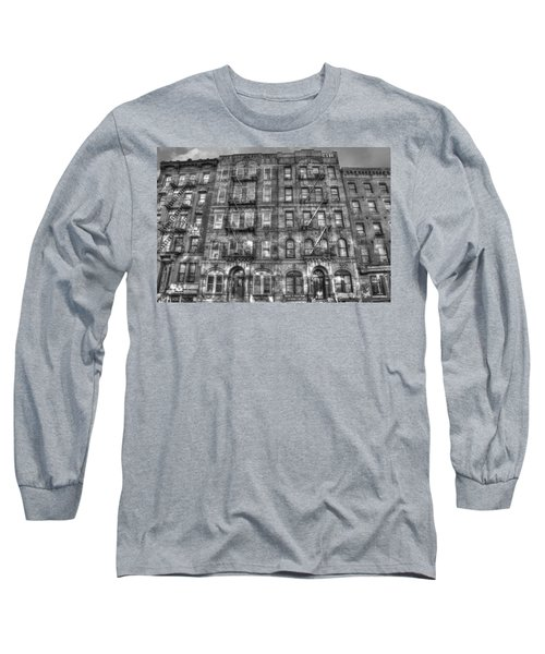Led Zeppelin Physical Graffiti Building In Black And White Long Sleeve T-Shirt by Randy Aveille