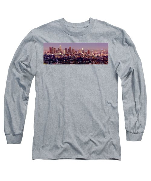 Los Angeles Skyline At Dusk Long Sleeve T-Shirt by Jon Holiday
