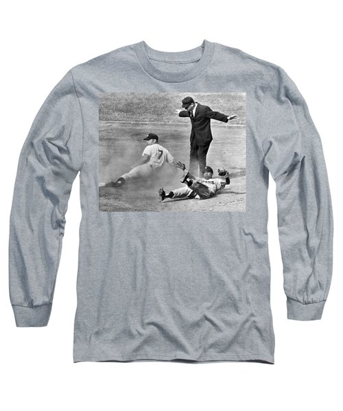Mickey Mantle Steals Second Long Sleeve T-Shirt by Underwood Archives