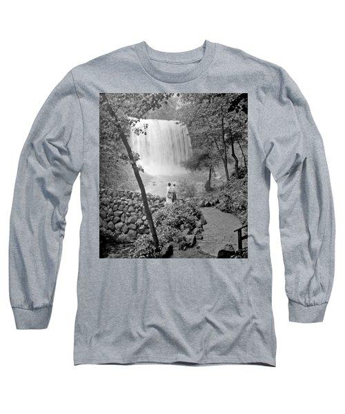 Long Sleeve T-Shirt featuring the photograph Minnehaha Falls Minneapolis Minnesota 1915 Vintage Photograph by A Gurmankin