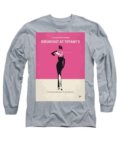 No204 My Breakfast At Tiffanys Minimal Movie Poster Long Sleeve T-Shirt by Chungkong Art