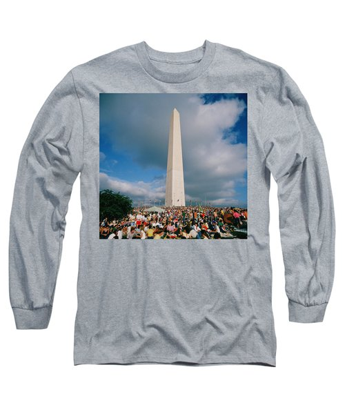 People At Washington Monument, The Long Sleeve T-Shirt by Panoramic Images