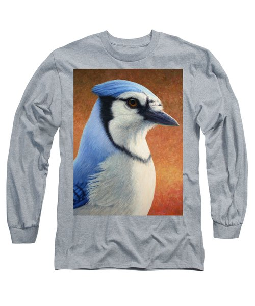 Portrait Of A Bluejay Long Sleeve T-Shirt by James W Johnson