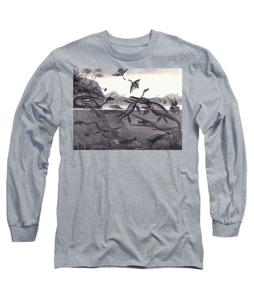 Prehistoric Animals Of The Lias Group Long Sleeve T-Shirt by English School