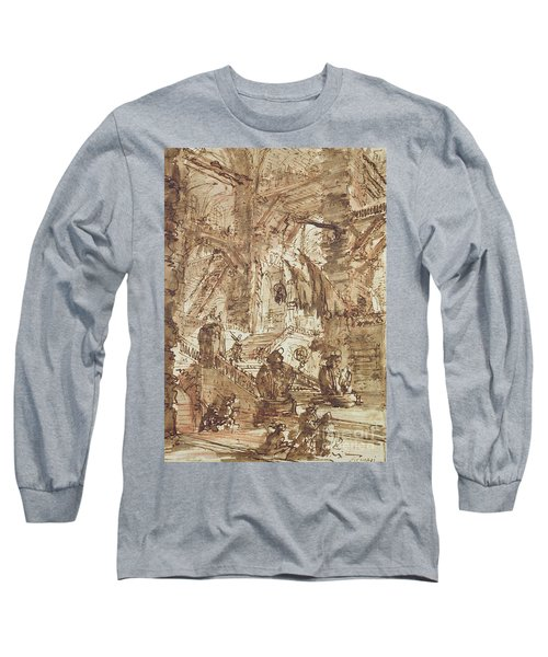 Preparatory Drawing For Plate Number Viii Of The Carceri Al'invenzione Series Long Sleeve T-Shirt by Giovanni Battista Piranesi