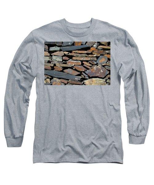 Long Sleeve T-Shirt featuring the photograph Rock Wall Of Slate by Bill Gabbert