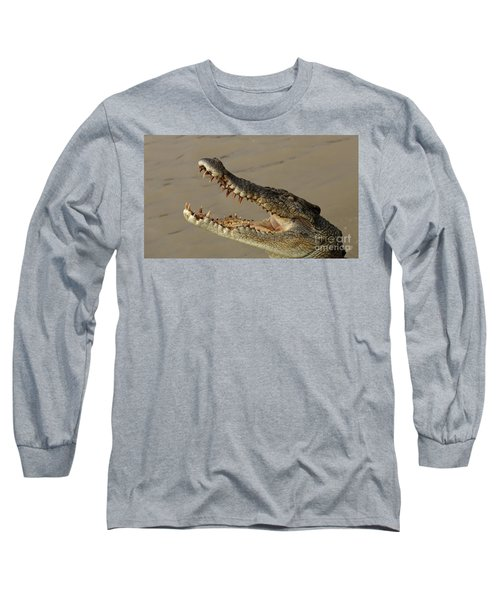 Salt Water Crocodile 1 Long Sleeve T-Shirt by Bob Christopher