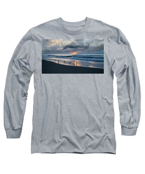 Sandpipers In Paradise Long Sleeve T-Shirt by Betsy Knapp