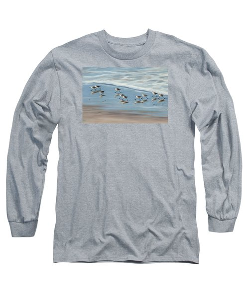 Sandpipers Long Sleeve T-Shirt by Tina Obrien