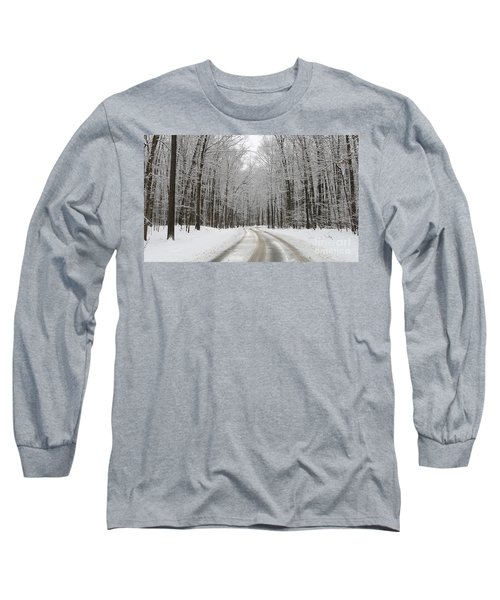 Snowy Road In Oak Openings 7058 Long Sleeve T-Shirt by Jack Schultz