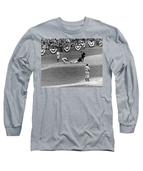Spud Chandler Is Out At Third In The Second Game Of The 1941 Wor Long Sleeve T-Shirt by Underwood Archives