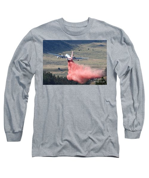 Long Sleeve T-Shirt featuring the photograph Tanker 45 Dropping On Whoopup Fire by Bill Gabbert