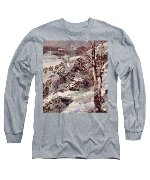 The Russians Fighting Their Way Over The Carpathians Long Sleeve T-Shirt by Cyrus Cuneo
