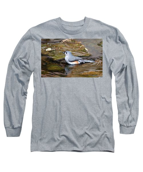 Tufted Titmouse In Pond II Long Sleeve T-Shirt by Sandy Keeton