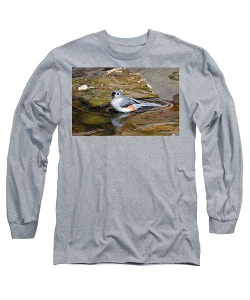 Tufted Titmouse In Pond Long Sleeve T-Shirt by Sandy Keeton