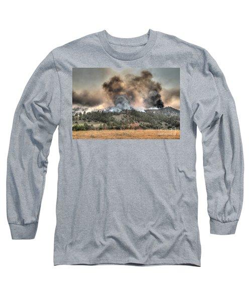 Long Sleeve T-Shirt featuring the photograph Two Smoke Columns White Draw Fire by Bill Gabbert