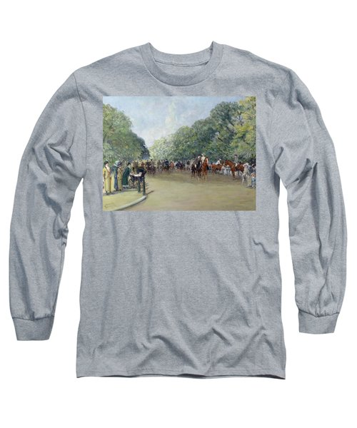 View Of Hyde Park With Figures On Rotten Row  Long Sleeve T-Shirt by Albert Jnr Ludovici