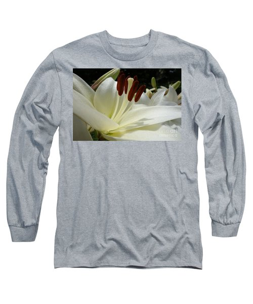 White Asiatic Lily Long Sleeve T-Shirt by Jacqueline Athmann
