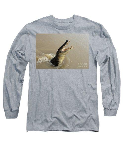Salt Water Crocodile 2 Long Sleeve T-Shirt by Bob Christopher