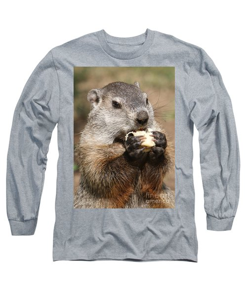 Animal - Woodchuck - Eating Long Sleeve T-Shirt by Paul Ward