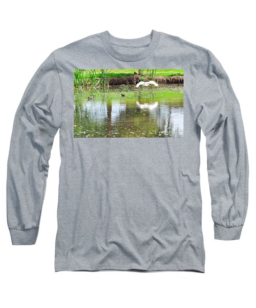Ibis Over His Reflection Long Sleeve T-Shirt by Kaye Menner