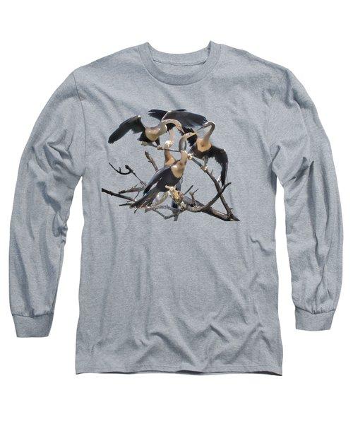 Anhinga Feeding Time Transparency Long Sleeve T-Shirt by Richard Goldman