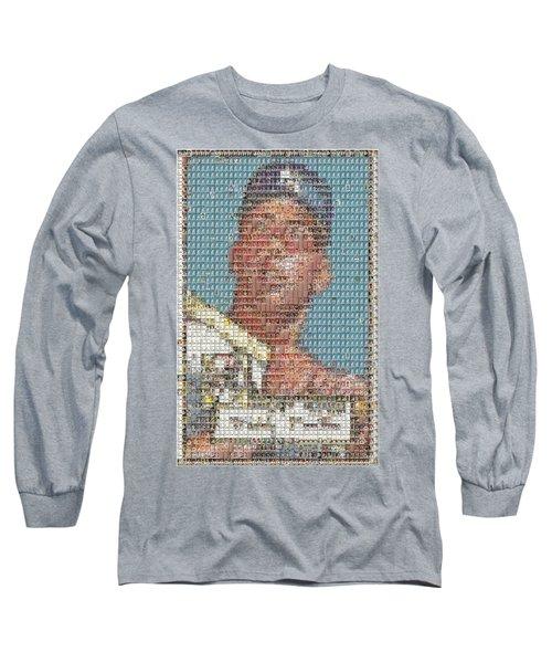 1952 Topps Mickey Mantle Rookie Card Mosaic Long Sleeve T-Shirt by Paul Van Scott